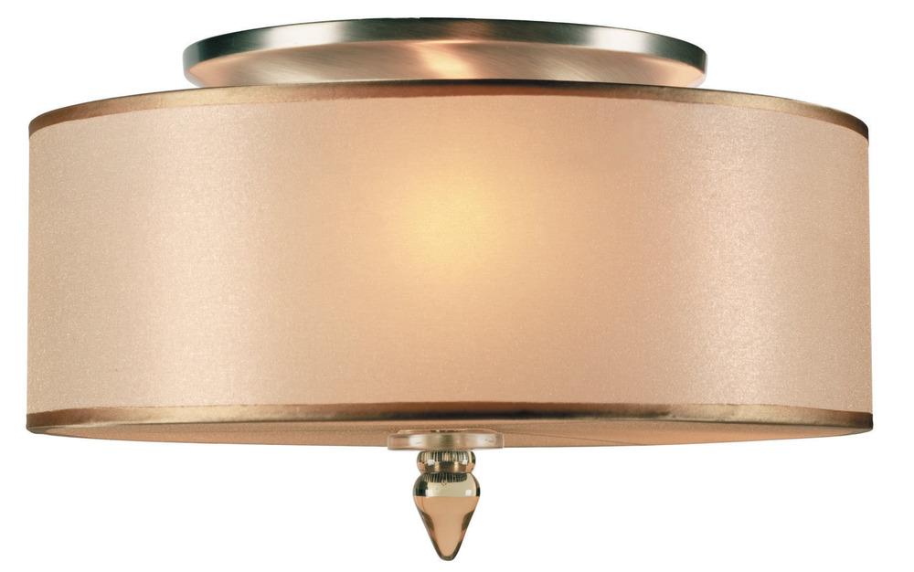 Crystorama Luxo 3 Light Drum Shade Brass Flush Mount 23FZK